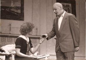 That's me on the right...I was Daddy Warbucks in Annie when I was a sophomore in high school.
